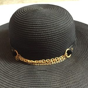 Eugenia Kim Black Straw Hat with Gold Chain Trim